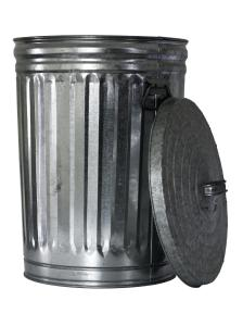 trash can, opened, top at side