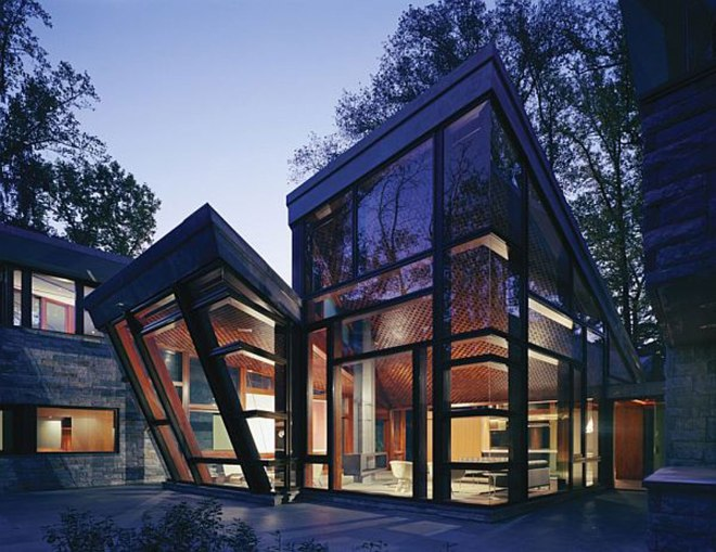 beautiful-unique-glass-house-design-with-elegant-unique-two-different-shaped-design-even-sweet-wooden-patio-floor