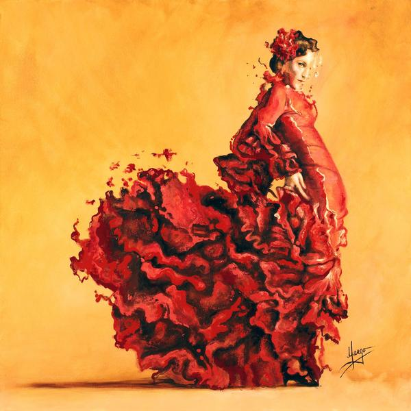 Figurative flamenco woman red dancer painting
